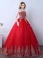 Stunning Red Ball Gowns Appliques and Sequins Quinceanera Gowns Lace Up Tulle Sleeveless Floor Length