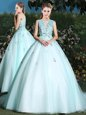 Scoop Light Blue Ball Gowns Beading and Appliques Quinceanera Dress Lace Up Tulle Sleeveless