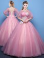 Classical Scoop Half Sleeves Quinceanera Gowns Floor Length Appliques Pink Tulle