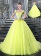 Straps Yellow Sleeveless Tulle Brush Train Lace Up Quinceanera Gowns for Military Ball and Sweet 16 and Quinceanera