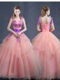 Simple Floor Length Watermelon Red Quince Ball Gowns V-neck Sleeveless Lace Up