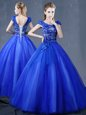 Royal Blue Organza Lace Up V-neck Short Sleeves Floor Length 15th Birthday Dress Lace and Appliques