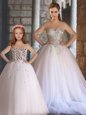 Floor Length Ball Gowns Sleeveless White Quinceanera Gown Lace Up