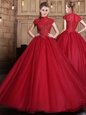 Tulle High-neck Short Sleeves Zipper Appliques Quinceanera Gowns in Wine Red