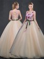Exquisite Scoop Champagne Lace Up Quinceanera Dress Appliques Sleeveless Floor Length
