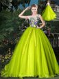 Fantastic Yellow Green Quinceanera Dresses Prom and Sweet 16 and Quinceanera and For with Beading and Appliques and Belt Scoop Sleeveless Court Train Lace Up