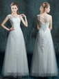 Fine Scoop Tulle and Lace Sleeveless Floor Length Wedding Dresses and Appliques