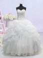 Customized Lace Up Wedding Gown White and In for Wedding Party with Beading and Pick Ups Brush Train