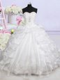 Affordable Beading and Appliques and Pick Ups Wedding Gowns White Lace Up Sleeveless With Brush Train