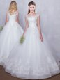 Custom Designed Scoop White Lace Up Wedding Gowns Lace Cap Sleeves Floor Length
