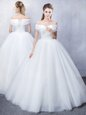 Unique Ruffled Tulle Off The Shoulder Short Sleeves Lace Up Ruching Bridal Gown in White