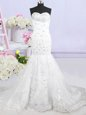 Mermaid White Wedding Gown Wedding Party and For with Beading and Lace and Appliques Sweetheart Sleeveless Brush Train Lace Up