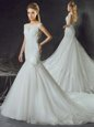 Free and Easy Mermaid Scoop Tulle Sleeveless With Train Bridal Gown Court Train and Lace and Appliques