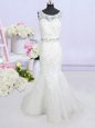 New Arrival Mermaid Scoop Backless White Sleeveless Brush Train Beading and Lace and Appliques and Bowknot Wedding Gown