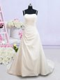 Vintage Sleeveless Ruching Zipper Bridal Gown with White Brush Train
