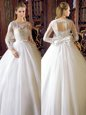 Amazing Scoop White Lace Up Wedding Dress Lace and Bowknot Long Sleeves Floor Length