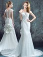 Scoop White Mermaid Lace and Bowknot and Pleated Wedding Dresses Zipper Chiffon and Lace Short Sleeves With Train