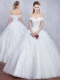Flirting Off the Shoulder Sleeveless Lace Up Floor Length Beading and Ruffles Wedding Gowns