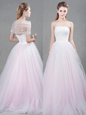 Hot Sale Sleeveless With Train Appliques Lace Up Wedding Gowns with Pink Brush Train
