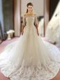 Shining Ball Gowns Wedding Dresses White Scoop Tulle Half Sleeves Floor Length Lace Up