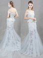 Perfect Mermaid With Train White Wedding Dresses Off The Shoulder Sleeveless Brush Train Lace Up