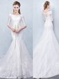 Mermaid Scoop White Lace Up Bridal Gown Lace Half Sleeves With Train Court Train