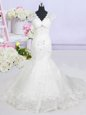 Mermaid V-neck Cap Sleeves Tulle Bridal Gown Beading and Lace Brush Train Lace Up