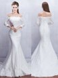 Mermaid Off The Shoulder 3|4 Length Sleeve Wedding Gowns With Brush Train Lace White Lace