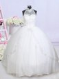 White Bridal Gown Wedding Party and For with Beading and Appliques Halter Top Sleeveless Brush Train Lace Up