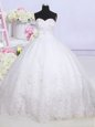 Sumptuous White Sweetheart Lace Up Beading and Lace Wedding Dress Court Train Sleeveless