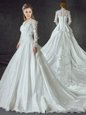 White V-neck Neckline Lace and Appliques Wedding Dresses Long Sleeves Zipper
