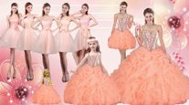 Edgy Floor Length Orange 15 Quinceanera Dress Straps Sleeveless Lace Up