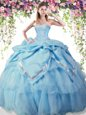 Sumptuous Beading and Pick Ups 15th Birthday Dress Baby Blue Lace Up Sleeveless Floor Length