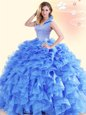 Inexpensive Blue Sleeveless Floor Length Beading and Ruffles Backless Vestidos de Quinceanera
