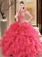 Modern Coral Red Ball Gowns Scoop Sleeveless Organza Floor Length Lace Up Beading and Ruffles Sweet 16 Quinceanera Dress