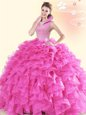 Hot Pink Organza Backless High-neck Sleeveless Floor Length Ball Gown Prom Dress Beading and Ruffles