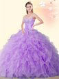 Glittering Eggplant Purple Ball Gowns Organza Sweetheart Sleeveless Beading and Ruffles Floor Length Lace Up Sweet 16 Dresses