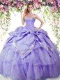 Amazing Lavender Sleeveless Beading and Pick Ups Floor Length Sweet 16 Quinceanera Dress