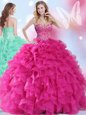 Discount Organza Sweetheart Sleeveless Lace Up Beading and Ruffles Sweet 16 Dresses in Hot Pink