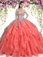 Floor Length Ball Gowns Sleeveless Coral Red Quince Ball Gowns Lace Up