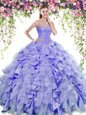 Inexpensive Sweetheart Sleeveless Organza and Taffeta Quinceanera Dresses Beading and Ruffles Lace Up