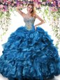 Classical Blue Sleeveless Organza Lace Up Sweet 16 Quinceanera Dress for Military Ball and Sweet 16 and Quinceanera