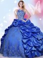 Halter Top Blue Taffeta Lace Up Quinceanera Gowns Sleeveless Floor Length Beading and Lace and Appliques and Pick Ups