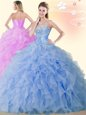 Classical Blue Lace Up Sweetheart Beading and Ruffles Vestidos de Quinceanera Organza Sleeveless
