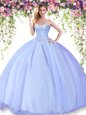 Colorful Floor Length Ball Gowns Sleeveless Lavender Quinceanera Gowns Lace Up