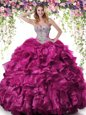 Low Price White And Red Sweetheart Neckline Beading and Ruffles Quince Ball Gowns Sleeveless Lace Up