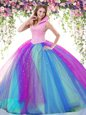 Dazzling Multi-color Ball Gowns Beading Quince Ball Gowns Backless Tulle Sleeveless Floor Length