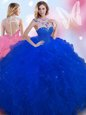 Exquisite Royal Blue Tulle Zipper 15 Quinceanera Dress Sleeveless Floor Length Beading