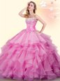Fabulous Rose Pink Sleeveless Floor Length Beading and Ruffles Lace Up Quinceanera Dresses