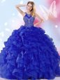 Fancy Floor Length Royal Blue Quinceanera Gown Organza Sleeveless Beading and Ruffles